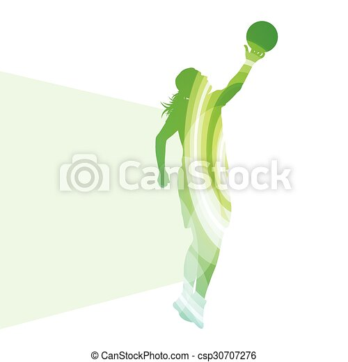 Basketball female woman player silhouette illustration background colorful concept - csp30707276