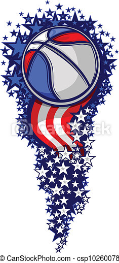 Basketball Firework with Flags and Stars - csp10260078