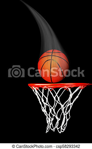 Basketball Flying in the Air. - csp58293342