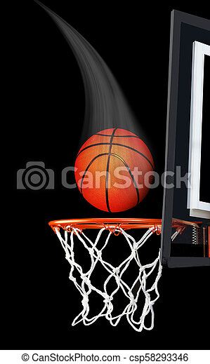Basketball Flying in the Air. - csp58293346