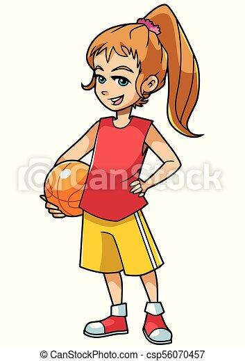 Basketball Girl On White - csp56070457