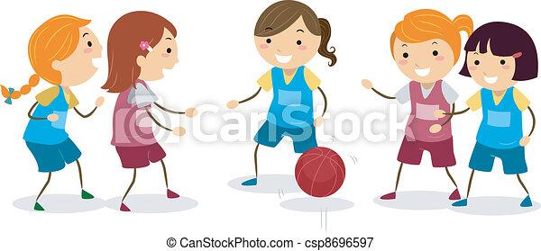 basketball girls illustration of girls playing basketball vectors rh canstockphoto com Little Girl Playing Basketball Little Girl Playing Basketball