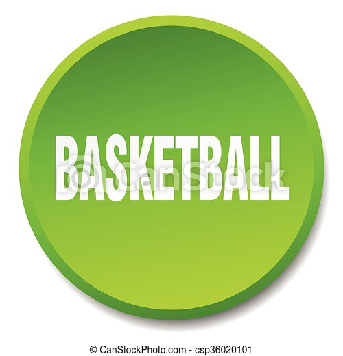 basketball green round flat isolated push button - csp36020101