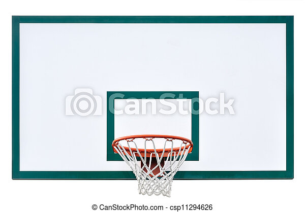 Basketball hoop cage, isolated large backboard closeup, new - csp11294626