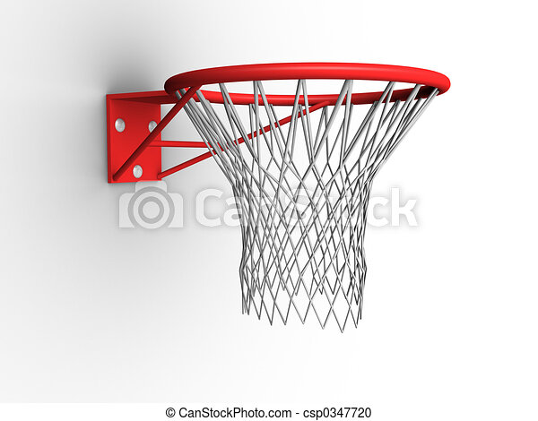 Line Drawing Net : 3d image of a basketball hoop with net. stock illustration