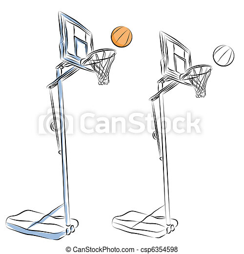 Basketball Hoop Stand Line Drawing. An Image Of A Basketball Hoop Stand Line Drawing.