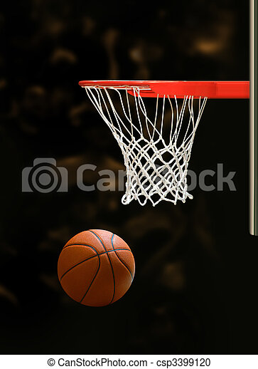 Basketball Hoop Basketball Board And Basketball Ball On Black