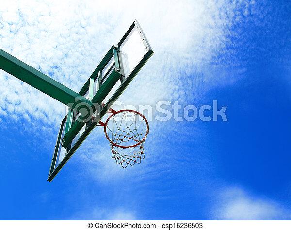 Basketball hoop, street basketball under clear blue sky - csp16236503