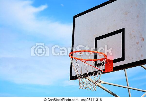 basketball hoop under a clear sky - csp26411316