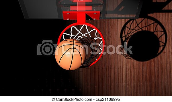 Basketball hoop with ball inside top view  - csp21109995
