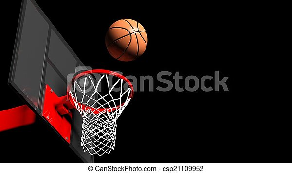 Basketball hoop with ball isolated on black background - csp21109952