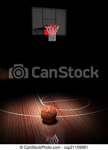 Basketball hoop with ball on wooden court floor  - csp21109981