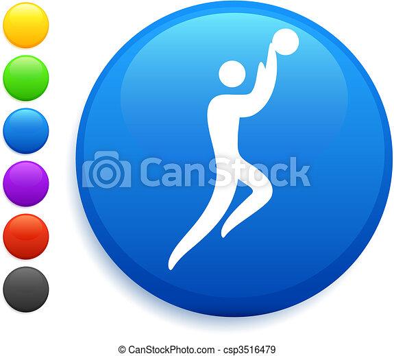 basketball icon on round internet button - csp3516479
