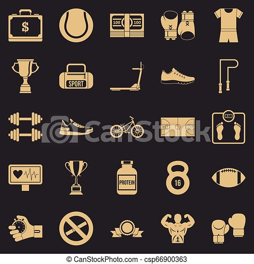 Basketball icons set, simple style - csp66900363