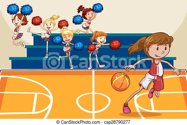 basketball girl playing basketball in the gym with cheerleaders Free Cheerleader Graphics free clipart images cheerleaders