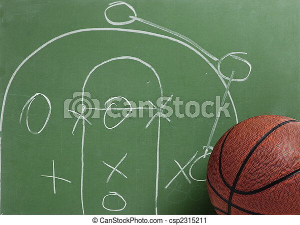 Basketball in chalkboard with play - csp2315211