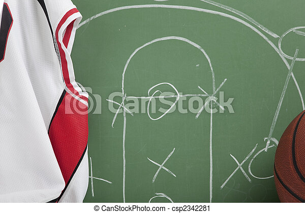 Basketball in chalkboard with play - csp2342281