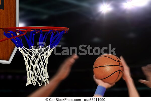 Basketball jump shot to the hoop by player - csp38211990