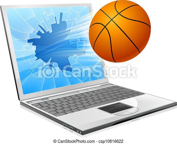 basketball, laptop, begriff, kugel - csp10816622