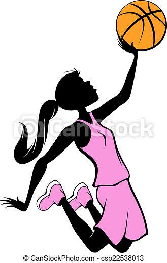 Basketball Layup in Pink Uniform - csp22538013