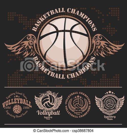 Basketball Logos, American Logo Sports - csp38687804