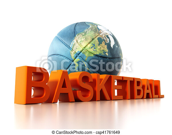 Basketball mapped with Earth texture. 3D illustration - csp41761649