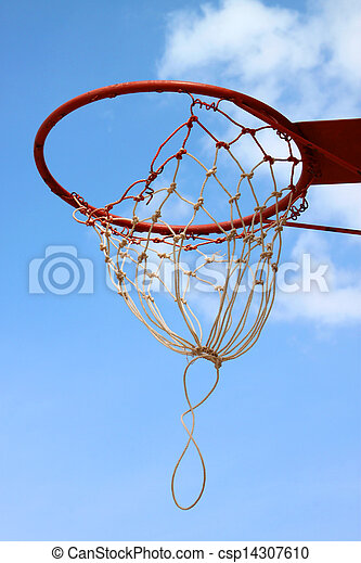 Basketball net against blue sky - csp14307610
