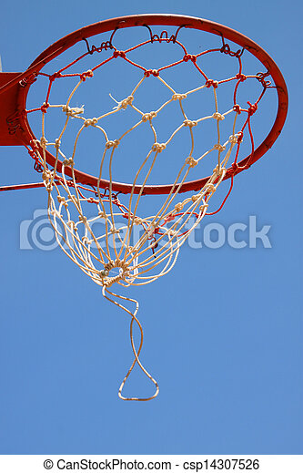 Basketball net against blue sky - csp14307526