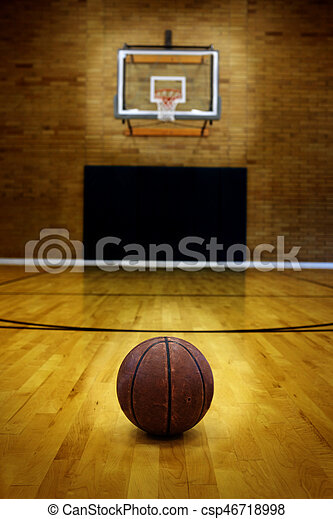 Ball on basketball court for competition and sports