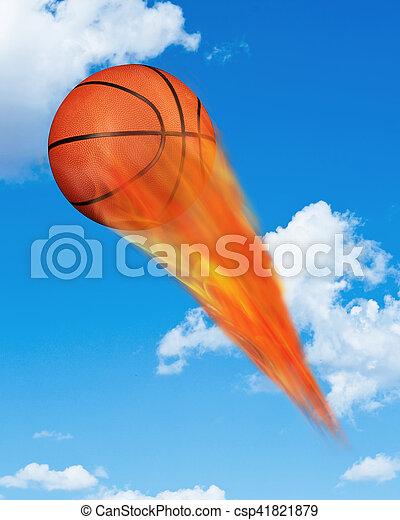 Basketball on Fire. - csp41821879