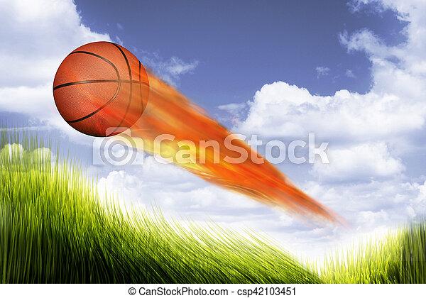 Basketball on Fire. - csp42103451