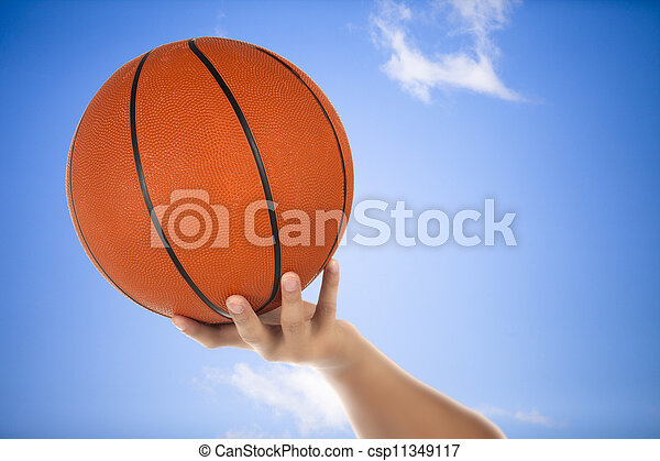 basketball on the hand - csp11349117