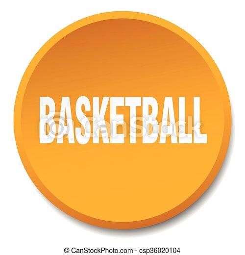 basketball orange round flat isolated push button - csp36020104