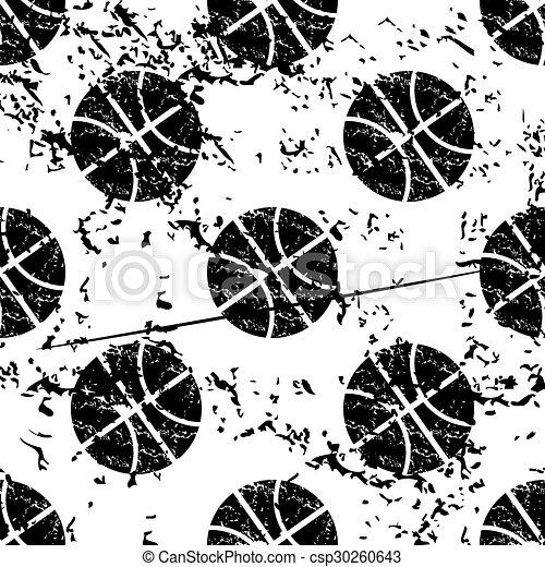 Basketball pattern, grunge, monochrome - csp30260643
