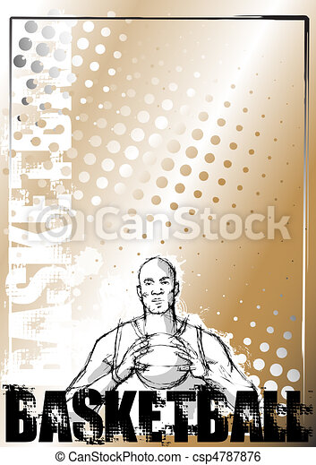 basketball pencil poster background - csp4787876