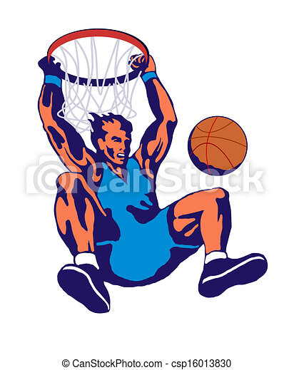 illustration of a basketball player dunking ball done in drawings rh canstockphoto com NBA Basketball Players Coloring Pages Drawings of NBA Basketball Players