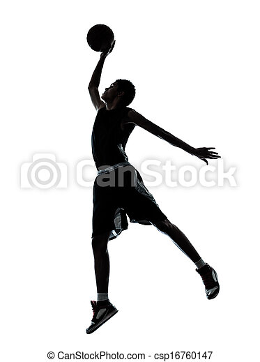 basketball player dunking silhouette - csp16760147