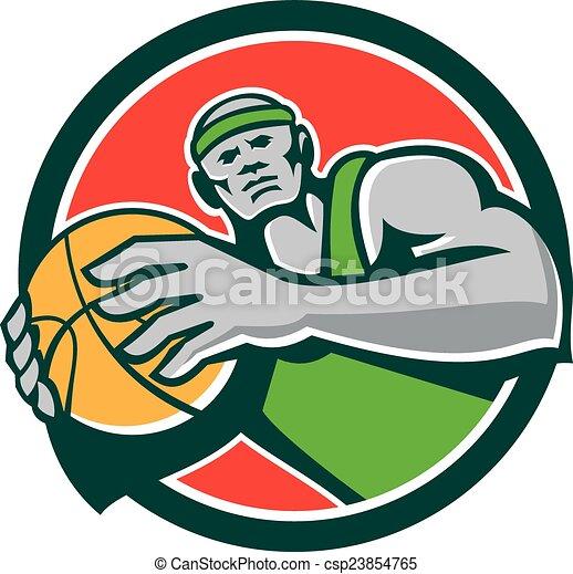 Basketball Player Holding Ball Circle Retro - csp23854765