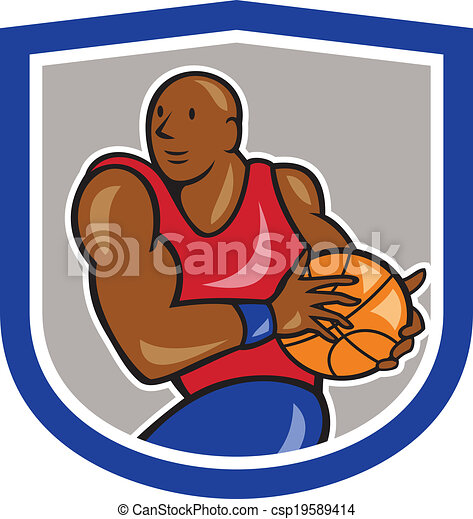 Basketball Player Holding Ball Shield Cartoon - csp19589414