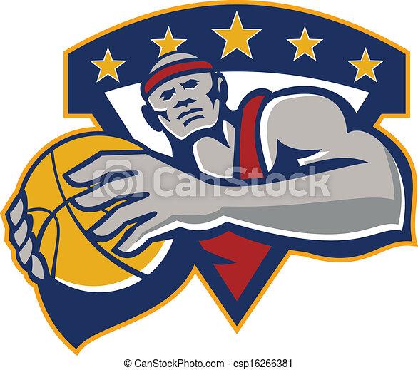 Basketball Player Holding Ball Star Retro - csp16266381