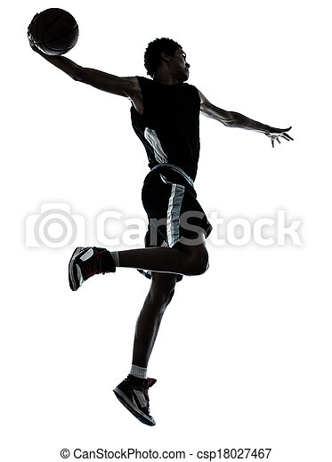 basketball player one hand slam dunk silhouette - csp18027467