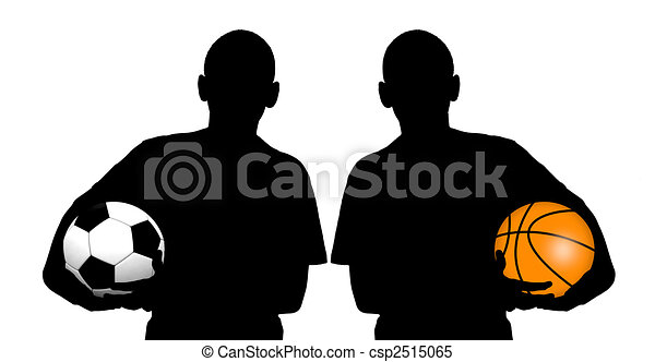 basketball player silhouette and soccer player silhouette stock illustration