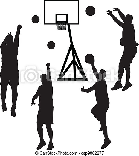 basketball player silhouette vector basketball player in vectors rh canstockphoto com basketball ball silhouette vector girl basketball silhouette vector