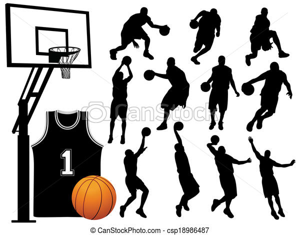 Basketball Player Silhouettes  - csp18986487