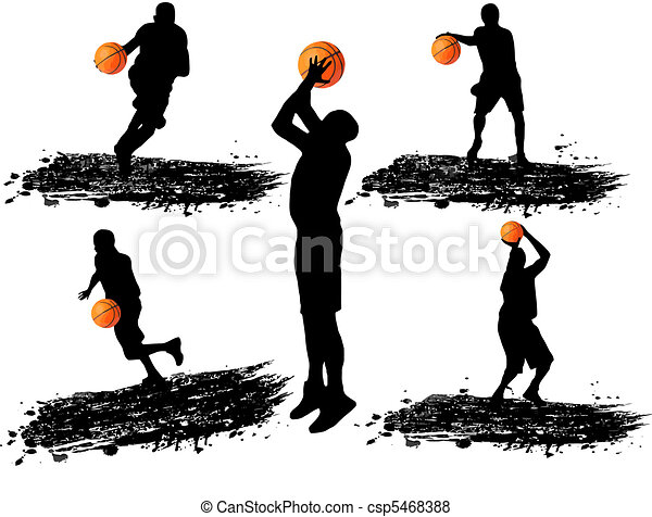 Basketball player silhouettes - csp5468388