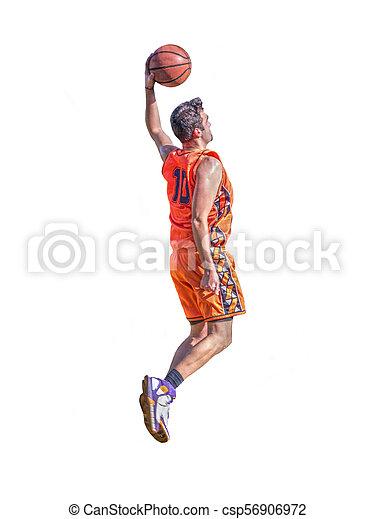 Basketball player slam dunk on white - csp56906972