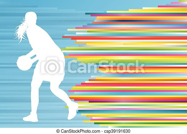 Basketball player woman silhouette vector abstract background illustration - csp39191630