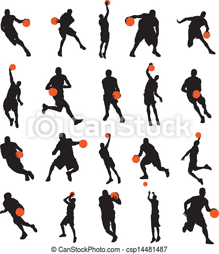 Basketball players 20 poses - csp14481487