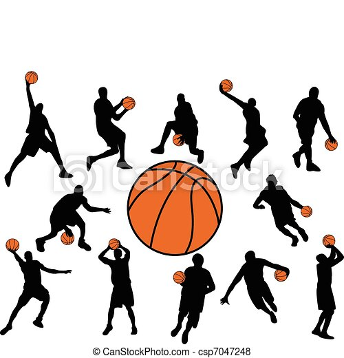 basketball players silhouette vector vector search clip art rh canstockphoto com basketball player clipart images basketball players clipart