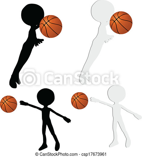 basketball players silhouette collection in block position - csp17673961